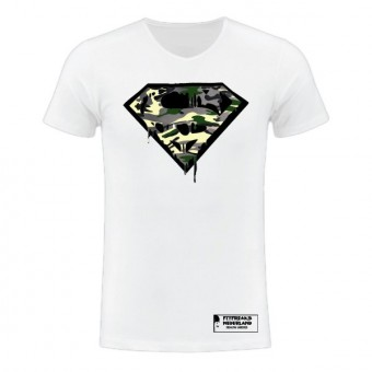 Slimfit T shirt camo Superman blood white/black