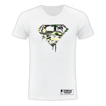 Slimfit T shirt camo Superman blood white