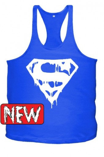 Superman blood Blue/ White singlet
