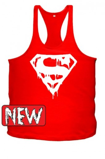 Superman blood Red/ white  singlet