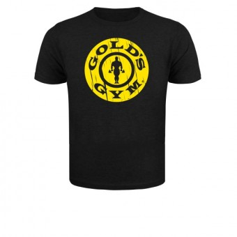 Slimfit T shirt Goldgym round vintage Black/Yellow