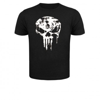 Slimfit T shirt skull dripped White/Black
