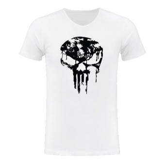 Slimfit T shirt Skull dripped Black/White