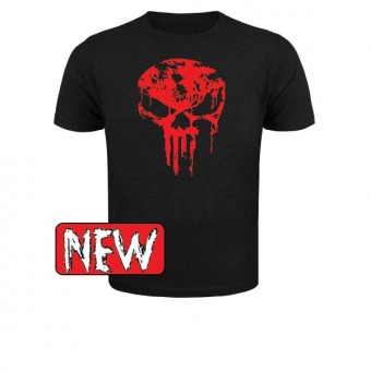 Slimfit T shirt skull dripped Red/Black
