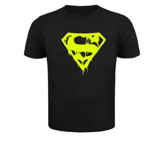 Slimfit T shirt  Superman blood Black/Neonyellow