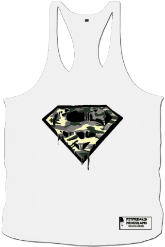 Tanktop camo superman blood white