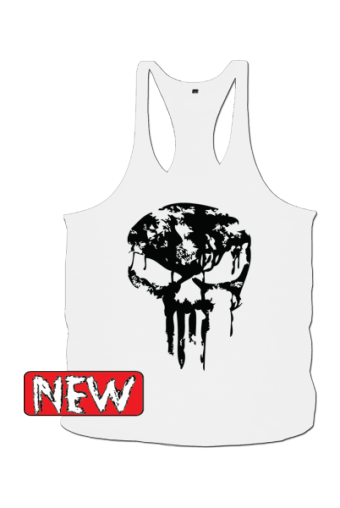 Skull dripped White/ black Singlet